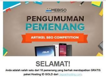 Hadiah SEO Blog Contest Beon.co.id Jagoanhosting.com